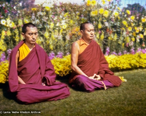 Rinpoche and Lama meditating, Delhi,1975