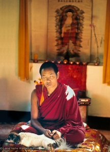 Lama Yeshe with his dog Dolma, 1971