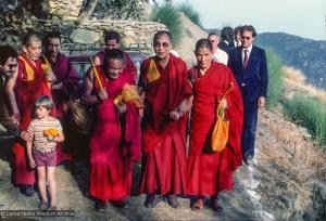Lama Yeshe with His Holiness and entourage, 1982