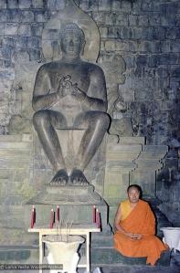 Lama meditating at Borobodur, Java, 1979