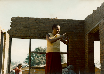 Lama supervising construction, Kopan, 1974