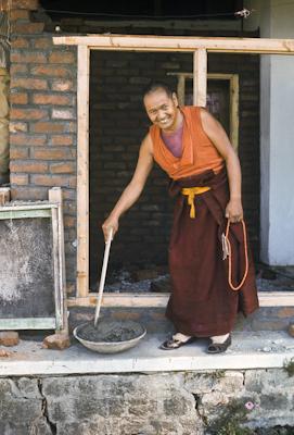 Lama mixing cement, Kopan, 1974