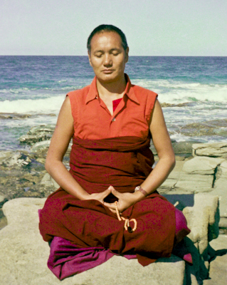 Lama meditating by the ocean, Australia, 1974