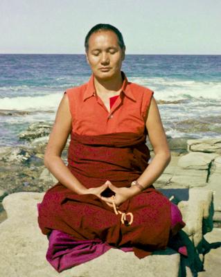 Lama meditating by the ocean, Australia, 1974